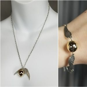Golden Snitch Silver Chain Necklace & Bracelet Set